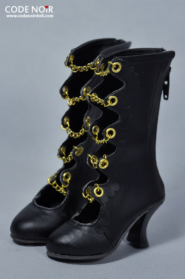 CLS000122 Black x Golden Chain Boots
